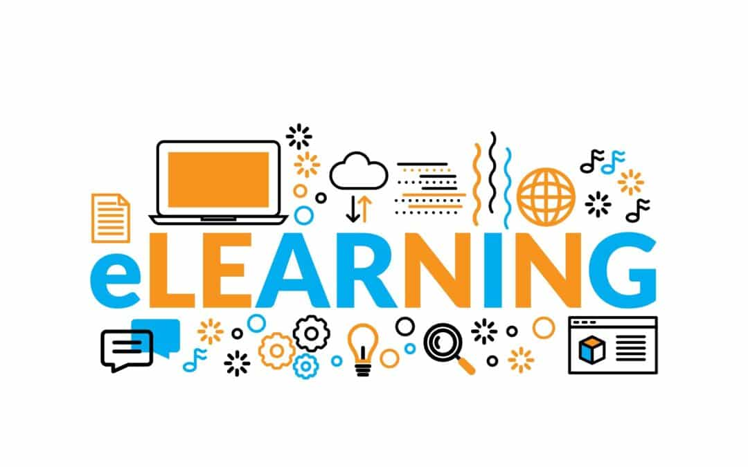 illustration of the word learning surrounded by web icons -e-learning voiceover